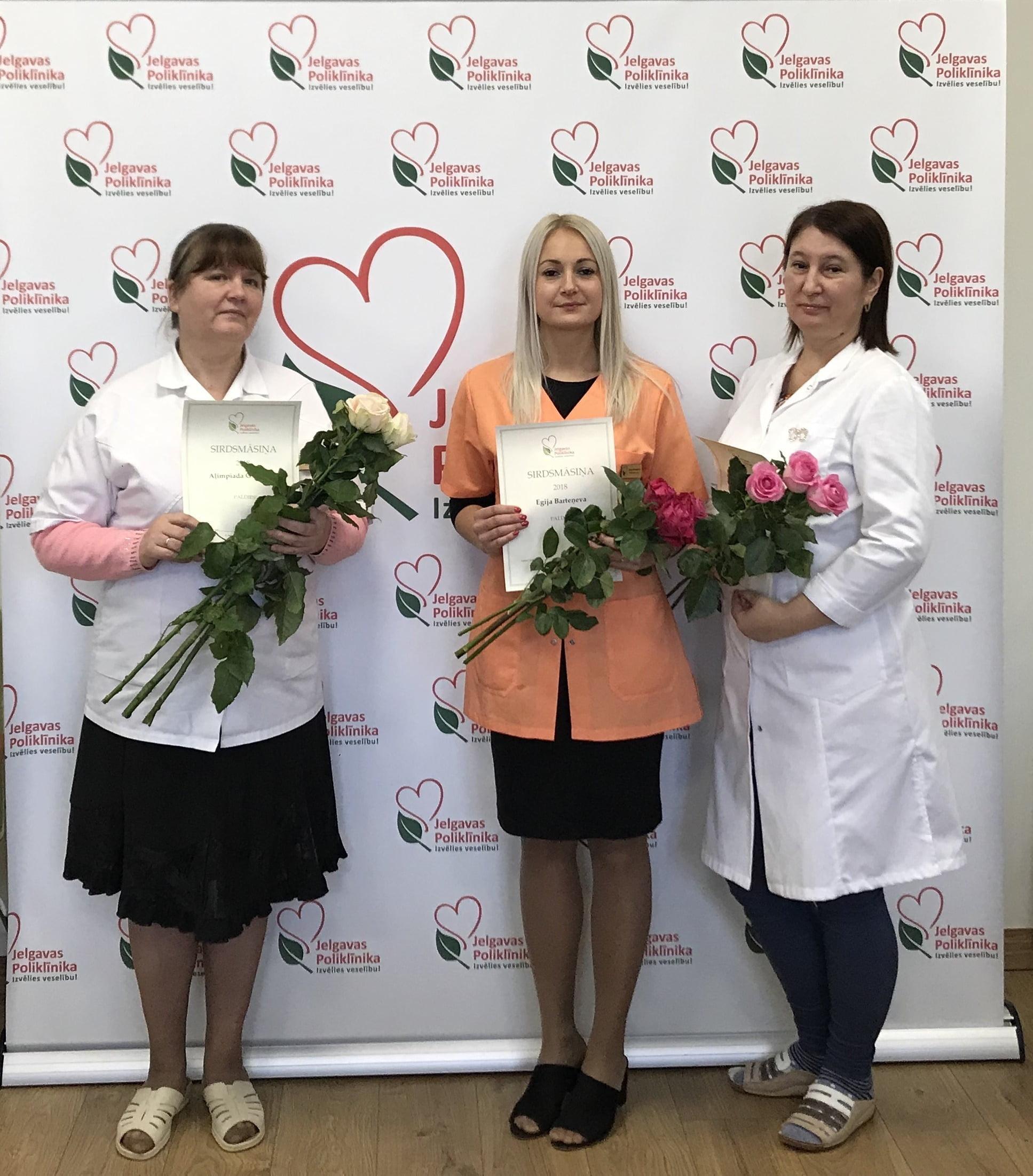 Aļimpiada Gvozdova, Egija Barteņeva, Natālija Kirova Jelgavas poliklīnikas Sirdsmāsiņas